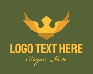 Regalia - Golden Winged Crown logo design