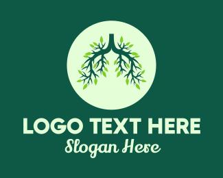 Bush - Green Forest Tree Lungs logo design