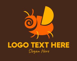 Kids Apparel - Orange Spiral Bug logo design