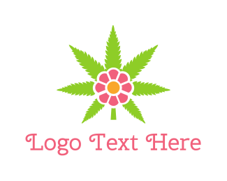 Grey Flower - Cannabis Pink Flower logo design