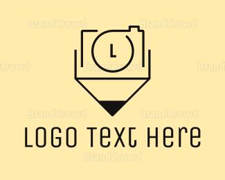 Writer - Camera Pencil  logo design