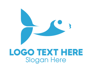 Salmon - Abstract Blue Fish logo design