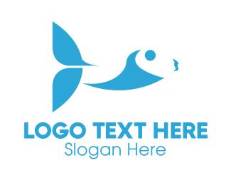 Salmon - Abstract Blue Fish logo design