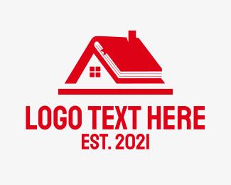 School - Red Home School logo design