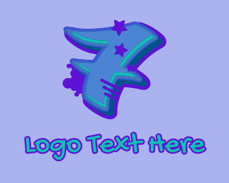 Record Producer - Graffiti Star Number 7 logo design