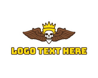 King - Skull King Wing logo design