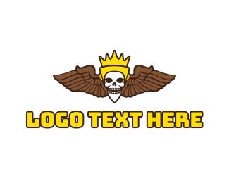 Aeronautics - Skull King Wing logo design
