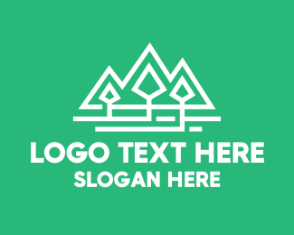 Trekking - Geometric Pine Tree Park logo design