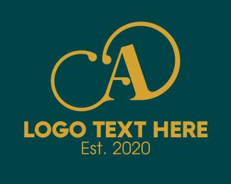 Calligraphy - Gold Classy Fashion Letter A logo design