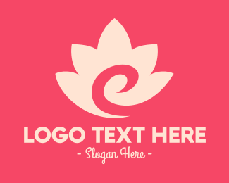 Yoga Center - Pink Flower Swirl logo design