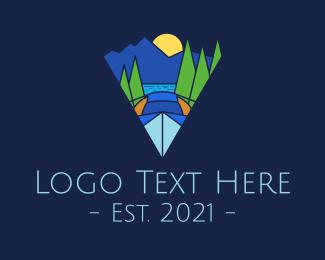 Night Camp - Lake Night Camp Geometric logo design