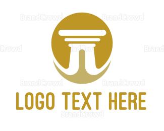 Interior Designer - Gold Sun Pillar logo design