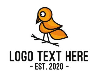 Rainforest - Yellow Sparrow Outline logo design