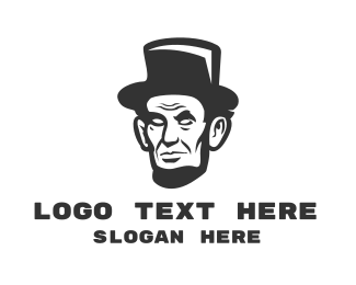 Black Man - Monochromatic Lincoln Head logo design