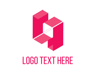 3d - Pink Blocks logo design
