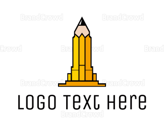 School - Yellow Pencil Tower logo design