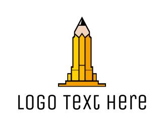 University - Yellow Pencil Tower logo design