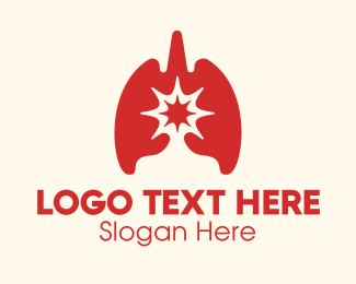 Emphysema - Red Respiratory Lung Virus logo design