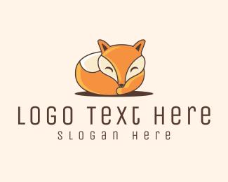 Orange Fox - Sleeping Round Fox logo design