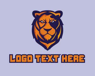 Team - Angry Lion Mascot logo design