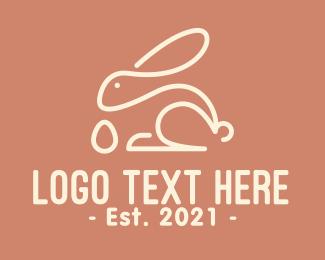 Egg Hunting - Bunny Egg Monoline logo design