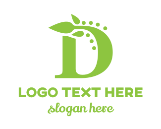 Initial - Abstract D Leaf logo design