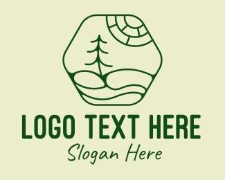 Camping Grounds - Green Minimalist Landscape  logo design