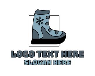 Ski - Snow Boot Footwear logo design