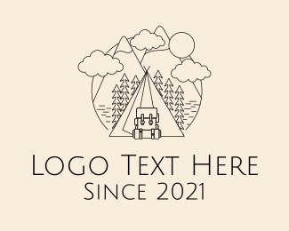 Camp - Monoline Camping Backpack logo design