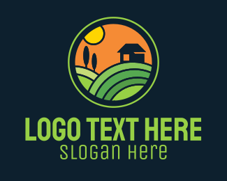 Farmland - Stained Glass Farm House logo design