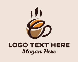Hot Choco - Coffee Bean Cup Letter E logo design