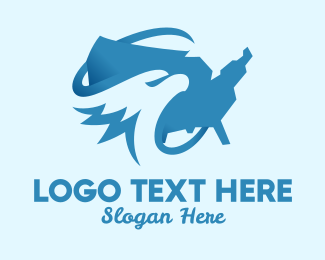 National - Blue American Eagle Map logo design