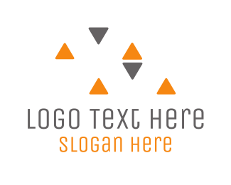 Service - Grey & Orange Triangles logo design