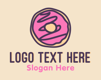 Sweet - Doodle Cute Sweet Donut Dessert logo design