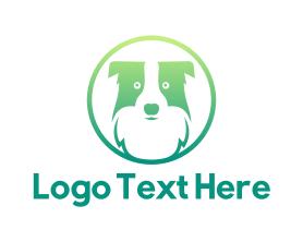Puppy - Green Dog Badge logo design