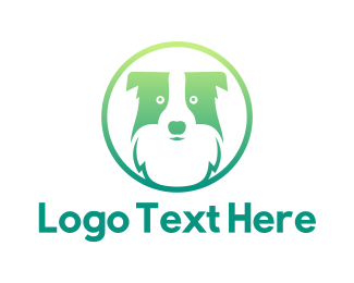 Green Puppy - Green Dog Badge  logo design