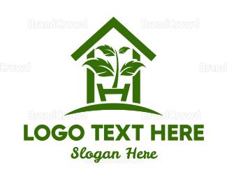 Eco Energy - Greenhouse Plant logo design