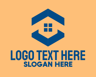 Window Cleaning - Blue House Hexagon Realtor logo design