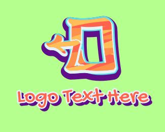 Number 0 - Arrow Graffiti Art Number 0 logo design