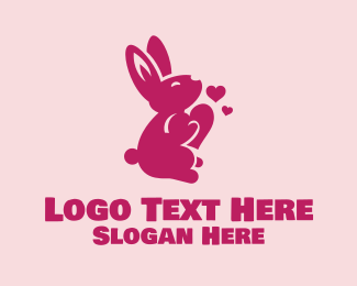 Pink Rabbit - Cute Love Bunny logo design