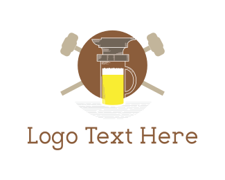 Iron - Anvil & Beer logo design
