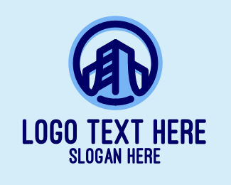 Office Building - Blue Building Emblem  logo design