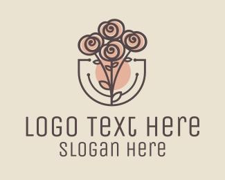 Peony - Rose Bouquet logo design