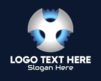 Mecha - 3D Cyber Gear logo design