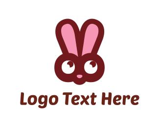 Hare - Pink Bunny logo design