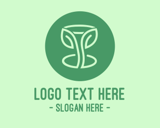Liqueur - Green Organic Wine Glass logo design