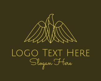 Gamepad - Yellow Eagle Monoline logo design