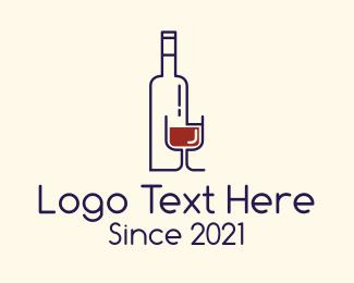 Wine Bottle & Glass Logo