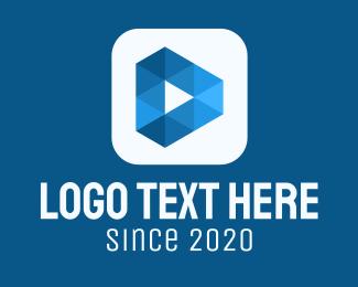 Playlist - Blue Media Player Button logo design