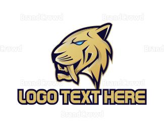 Dino - Modern Saber Tooth Gaming logo design